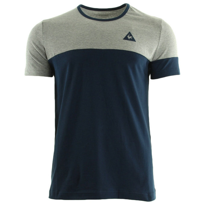 Le Coq Sportif Merrela Tee Ss M Light Heather Grey Dress Blue T-Shirts Manches Courtes Homme